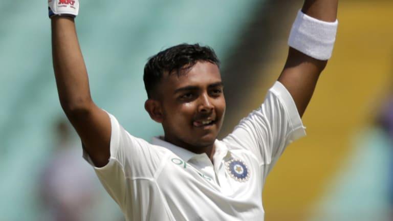 India's Prithvi Shaw celebrates his century on debut.