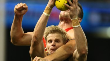 Nick Riewoldt in action for St Kilda in 2014.