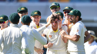 Jhye of the Tiger: Jhye Richardson takes his first Test wicket.