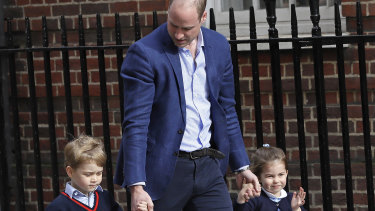 Prince William arrives with Prince George and Princess Charlotte to meet their new baby brother.