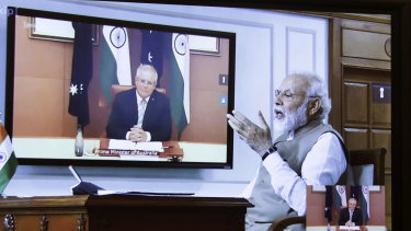 Narendra Modi and Scott Morrison held a virtual summit last month.