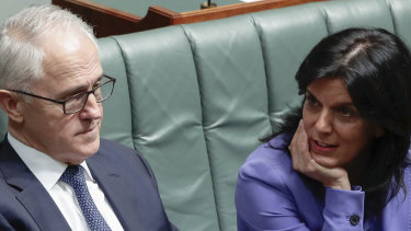 Julia Banks and Malcolm Turnbull in his final days as prime minister.