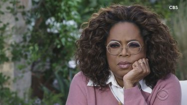 Oprah Winfrey during her interview with Meghan, the Duchess of Sussex.