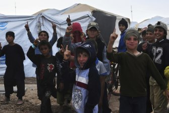 Children at the al-Hawl camp in October last year.