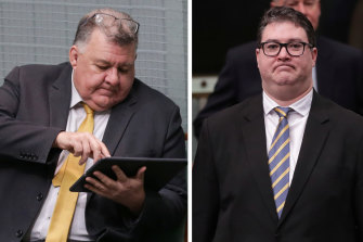 MPs Craig Kelly (left) and George Christensen.