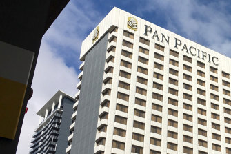 The Pan Pacific in Perth where a case of transmission within the hotel quarantine system has been recorded.