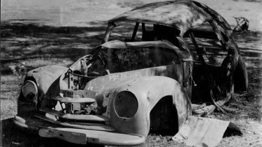 The burnt shell of Petrov's beloved Skoda, which he crashed near Royalla in 1953.