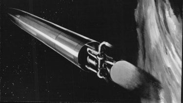 This is an artists conception of a nuclear rocket missile from the late 1950s.