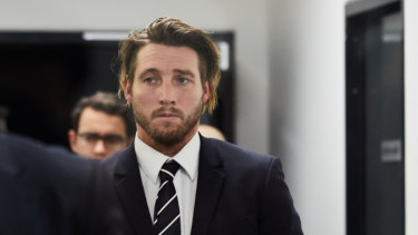 Dale Thomas at the AFL Tribunal on Tuesday night.