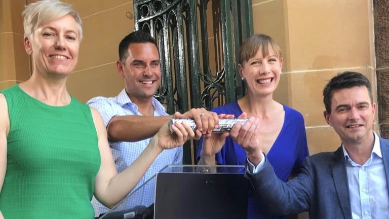 Cross-party harm minimisation roundtable:  Cate Faehrmann MLC (left); NSW Greens; Alex Greenwich MP, Independent; Member for Sydney; Jo Haylen MP, Labor; Member for Summer Hill; Shayne Mallard Liberal Party.