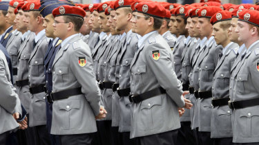 Macron wants a Euro Army. Pictured: German Bundeswehr soldiers.