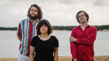 "American rock band Screaming Females: (l-r) Mike ""King Mike"" Abbate (bass), Marissa Paternoster (guitar, vocals), Jarrett Dougherty (drums)."