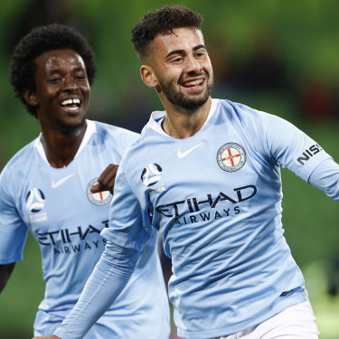 Melbourne City's Idrus Abdulahi (left) is just 15 and played in his first game for the club last weekend.