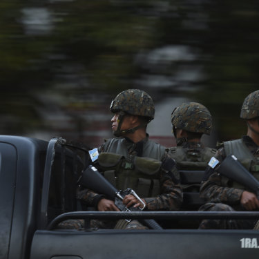 Soldiers on the streets of Guatemala City.
