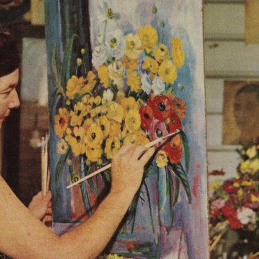 Margaret Olley painting at Farndon, 1966.