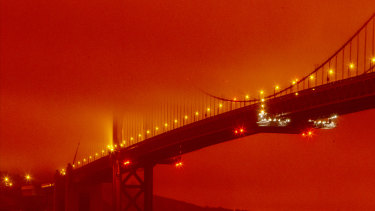 California's wildfires sent San Francisco's Golden Gate Bridge into daytime darkness on September 9. The state is in the midst of its worst wildfire season on record.