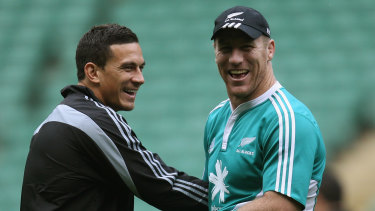 Sonny Bill Williams (left) and Brad Thorn (right) before an All Blacks Test at Twickenham in 2010.