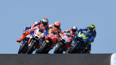 Pace-setter: Australia's Jack Miller leads during the opening lap.