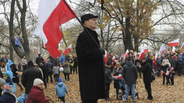 Poles gather in Warsaw on Sunday to watch the official ceremony marking both the end of WWI and Poland's Independence Day.