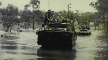 "Army ""ducks"" were called in for flood-relief help in the Windsor area on November 21, 1961."