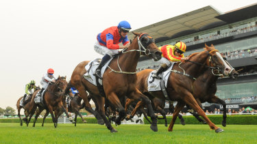 Rachel King rides Quackerjack to the line in the Villiers Stakes at Randwick.