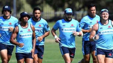 Star-studded: Waratahs players Karmichael Hunt, Kurtley Beale, Curtis Rona, Adam Ashley-Cooper, Israel Folau and Jack Dempsey at training.