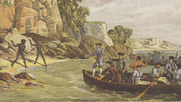History, but from whose perspective? A lithograph depicting the arrival of the Endeavour, titled Captain Cook's Landing at Botany Bay in 1770.