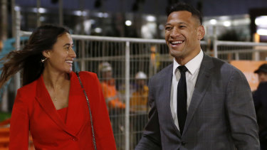 Israel Folau with wife Maria after leaving Federal Court on December 2.