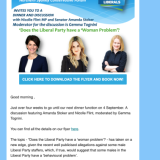 A promotion for the Liberal Party fundraiser in September.