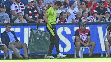 The emergency umpire fixes the turf at Marvel Stadium.
