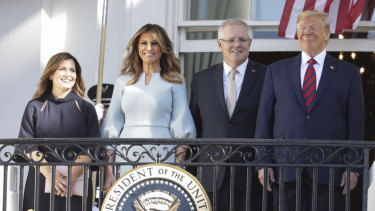 Jenny Morrison, Melania Trump, Scott Morrison and Donald Trump during a ceremonial welcome for the Australian White House guests.