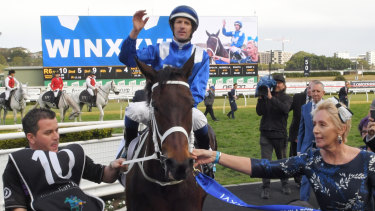 The queen returns: Hugh Bowman and Winx return to scale at Randwick on Saturday.
