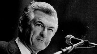 Then prime minister Bob Hawke in 1986.