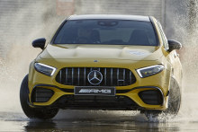The A45S's drift mode enables drivers to complete engine-screaming, tyre-screeching, tail-out circles in the wet.