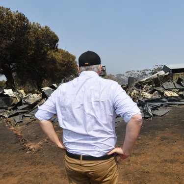 Prime Minister Scott Morrison visits a fire damaged property on Kangaroo Island on Wednesday.