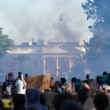 Protests near the White House in Washington, on Monday, June 1.