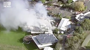 Fire engulfed a restaurant at Balgownie Estate in Victoria's Yarra Valley on Thursday.