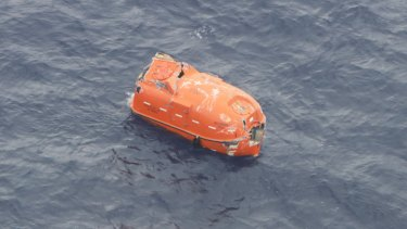 An overturned lifeboat was found in the ocean after the Gulf Livestock 1 ship was hit by a large wave and capsized.