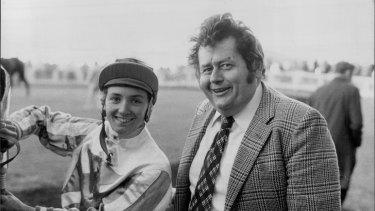 Larger than life: Ken Turner with jockey Miles Plumb at Randwick in 1980.
