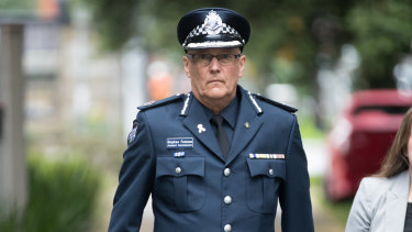 Assistant Police Commissioner Steve Fontana arrives at the Bourke Street massacre inquiry on Wednesday.