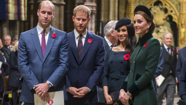 All in the family? Prince William, Duke of Cambridge (left), and Catherine, Duchess of Cambridge (right), with Prince Harry and his wife Meghan.