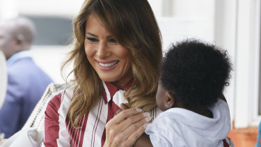 First lady Melania Trump visits Greater Accra Regional Hospital in Accra, Ghana.