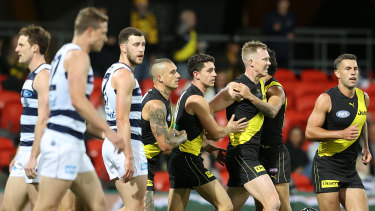 The Tigers celebrate Riewoldt's opening goal in round 17.