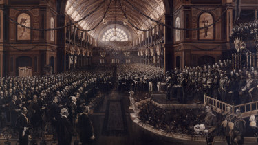 'The Opening, Commonwealth Parliament' by Charles Nuttall, 1901-1902.