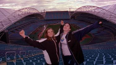 Eloise Poppett and Jana Pittman at Stadium Australia in 1999 before the Sydney Games.