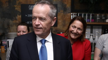 Bill Shorten with Fiona Phillips, the Labor candidate for Gilmore, which is one of the few seats where Labor has out-promised the Coalition.