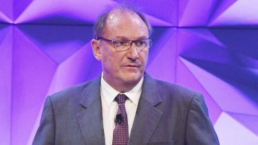 John Mullen , Chairman Telstra AGM at Hilton Hotel