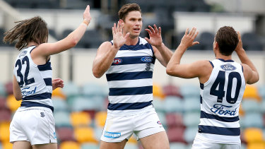Top Cat: Coleman Medal leader Tom Hawkins dominated up forward again for Geelong.