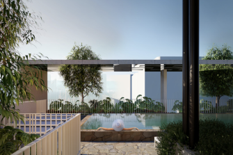 A concept image of the development's top floor and pool area.