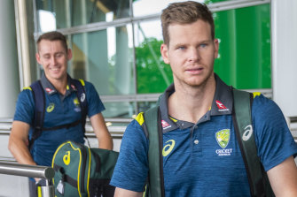 Steve Smith (right) and Marnus Labuschagne arrive in Brisbane ahead of the Heat's BBL clash against the Sixers.